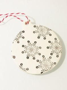 Handmade Stamped Snowflake Clay Ornament by shutterbugsarah, $4.00