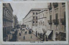 1929 Palermo - Via Roma  n° 7856 Uff. revis.stampa -Milano  n 090 cartolina con francobollo Italia 5 cent.
