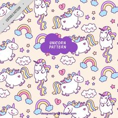 Colorful unicorn pattern Free Vector