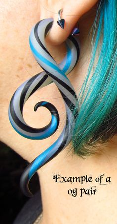 Strip of Color Polýpous Plugs / 8g to 00g / Made to Order. $21.00, via Etsy.