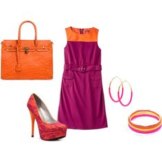 Orange and Pink Colorblocking by jessica-shoelover on Polyvore #styleitfab