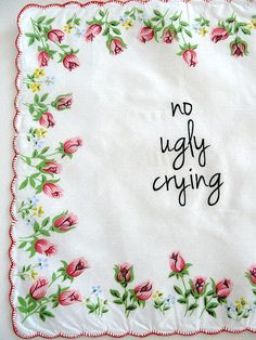 no ugly crying RED scalloped edge Roses bouquet handkerchief bridesmaid best friend mother of groom hipster wedding by janetmorrin on Etsy