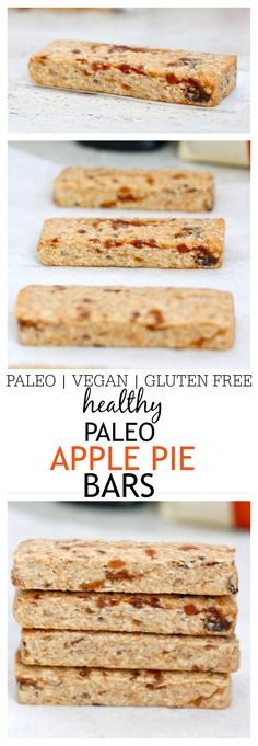 Healthy Paleo Apple Pie Bars- These easy, baked Apple Pie bars taste exactly like the comforting dessert minus all the guilt! Paleo, Gluten Free, Vegan and refined sugar free- These bars are the perfect snack between meals! Paleo Apple Pie, Apple Pie Bars, Gluten Free Baking, Gluten Free Desserts, Paleo Dessert, Dessert Recipes, No Bake Bars, Healthy Treats, Healthy Food