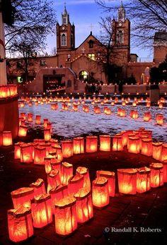 Luminarias Christmas Eve In Old Town Albuquerque, New Mexico