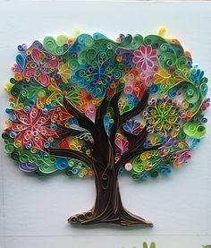 Quilling wallpaper tree spring, árbol primavera gift, valentine, wedding art, personalised treeoflife, paper, personalised custom, quilled