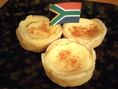 2 cups Milk 1 teaspoon Salt 1 teaspoon Butter 1 teaspoon Cornstarch/cornflour 1 teaspoon Custard Powder (I Recommend Bird's) 2 Tablespoons F. South African Desserts, South African Dishes, South African Recipes, South African Braai, Tart Recipes, Dessert Recipes, Cooking Recipes, Oven Recipes, Braai Recipes