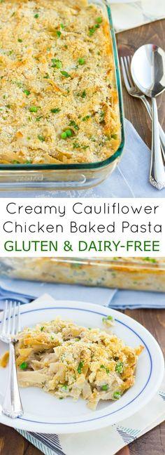 Creamy Cauliflower Chicken Baked Pasta! Comfort food made gluten & dairy-free!
