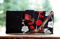 Wallet clutch womens vegan wallet handmade black japanese cherry blossom