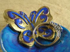 Blue butterfly ring bowl in shades of blue and gold by TheAmethystDragonfly, $30.00 USD