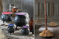 10 Ways To Decorate For A Witchy Halloween  You can always buy some plastic cauldrons, in all sizes at a local department store and fill them with dry ice. Place one on the porch to welcome trick-or-treaters or keep it in the kitchen so your guests suspect something brewing!