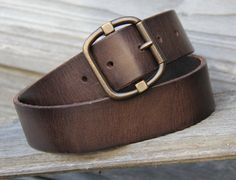 Vintage Style Dark Brown Leather Belt Size by StaghoundLeather
