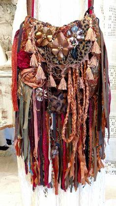 Handmade Fabric Collage Fringe Bag Hippie Gypsy Boho Festival OOAK Purse tmyers #Handmadebytmyers #MessengerCrossBody Gypsy Bag, Hippie Gypsy, Boho Festival, Festival Outfits, Fringe Bags, Boho Bags, Recycled Fabric, Purses And Handbags, Bohemian Style