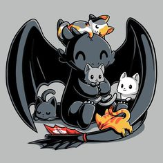 BFFs (Toothless and Cats)