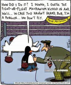 Science Cartoons, Funny Cartoons, Fight Or Flight, Political Cartoons, Penguins, Kicks, Politics, Humor, Comics