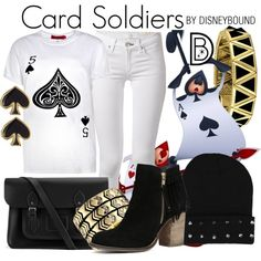 Card Soldiers by leslieakay on Polyvore featuring polyvore fashion style Boohoo rag & bone ALDO The Cambridge Satchel Company House of Harlow 1960 Kate Spade disney disneybound disneycharacter