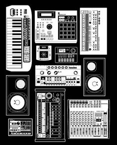 another cool design for a tshirt Music Hardware by Accent Creative, via… Techno Music, Dj Music, Music Stuff, Good Music, Home Studio Music, House Music, Music Is Life, Trip Hop, Edm