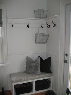 We could do exactly this in our entryway... corner, hooks, etc.