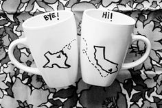 For friends far apart. Use sharpie and bake in oven on a white mug for DIY gift.  OH MY GOSH