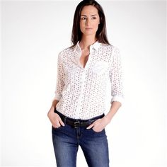 Long-Sleeved Fitted Broderie Anglaise Shirt [La Redoute].