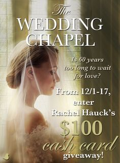 Is sixty years too long to wait for love? Two stories of romance, one in 1949 and one in the modern day, meet in Rachel Hauck's The Wedding Chapel. Help Rachel celebrate the release of her new book with a $100 giveaway and blog tour. Click for details!