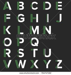 Strips alphabet letters set. Vector green strips typography. Font collection for icon, logo and symbol.