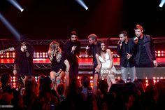 Musical group Backstreet Boys perform with Becca Tilley and Ashley Iaconetti live on the Honda Stage at the iHeartRadio Theater LA on September 30, 2016 in Burbank, California.