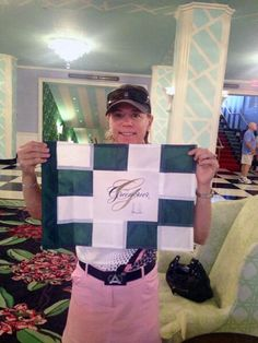Signed Greenbrier pin flag by golf great Annika Sorenstam on its way to The Golf Travel Guru...