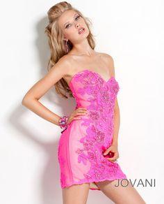 Embellished Floral Applique #Jovani #Pink Short #Dress, Style 2254 #Fashion