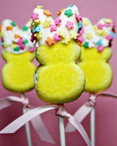Easter Bunny Marshmallow Peep Pops via @celebrations