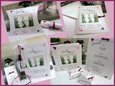 Hochzeitskarten mit Bild in rosa und pink