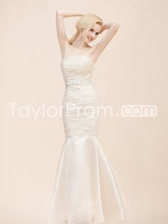 Strapless Organza Mermaid Wedding Dress