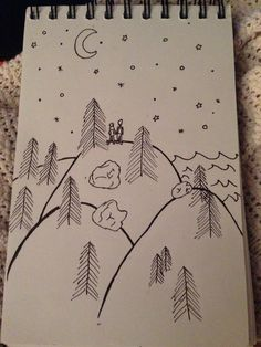 Drawing forest love mountains trees nature crayons