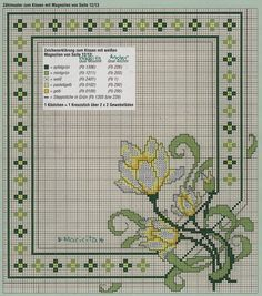 Cross Stitch: Maybe could stitch over one and fill open area with pretty mother of pearl buttons randomly placed Cross Stitch Borders, Cross Stitch Flowers, Cross Stitch Charts, Cross Stitching, Cross Stitch Embroidery, Cross Stitch Patterns, Needlepoint Stitches, Needlework, Art Nouveau Pattern