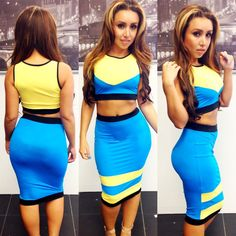 women clothes 2014 summer 2 Pieces Bandage celebrity Dress vestidos Sleeveless colors patchwork Sexy Bodycon Party Dresses  $11.99