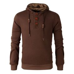 Elbow Patch Long Sleeve Drawstring Pullover Hoodie | TwinkleDeals.com