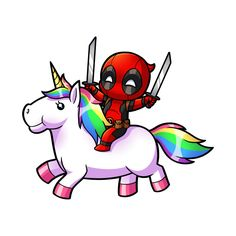 Deadpool on a Unicorn - Deadpool - T-... | TeePublic