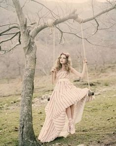 fairy photoshoot, pink dress, cold, leaf-less tree I HAVE A SWING LIKE THIS NEAR MY NEIGHBORS HOUSE