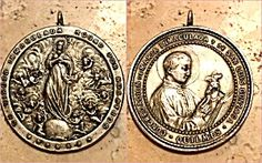 Huge Antique medal St. Louis Immaculate Virgin Mary Angels (Image1)Very large, Ornate, double sided antique holy medal in silver over bronze and featuring: The blessed Mother Virgin Mary Immaculate / Assumption surrounded with Angels on one side and Saint Luis Gonzaga holding the crucifix