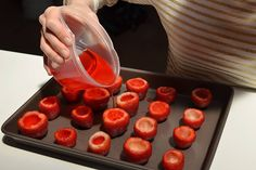 Learn how to make easy Jello shooters and strawberry margarita jello shooters. Start by creating a well in the center of your strawberry and mixing maragarita mix with Jell-o Strawberry Margarita Jello Shots, Strawberry Jello, Margarita Bar, Fruit Jello Shots, Jello Deserts, Jello Salads, Fruit Salads, Strawberry Fields, Melon Ballers