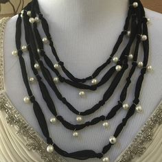 Cute Black Ribbon and Faux Pearl Necklace Unique necklace. Black and faux pearls. Jewelry Necklaces