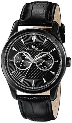 Lucien Piccard Men's LP-12761-BB-01-SA Stellar Analog Display Japanese Quartz Black Watch. Day of the week and date sub dials. Black textured dial with silver tone hands and hour markers; mineral crystal; black ion-plated stainless steel case; black leather strap. Japanese-quartz movement. Case diameter: 42mm. Water resistant to 165 feet.