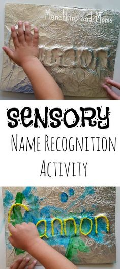 Name Recognition Activity Sensory Name Recognition Activity- a great preschool activity that incorporates the sense of touch.Sensory Name Recognition Activity- a great preschool activity that incorporates the sense of touch. Sensory Art, Sensory Activities, Writing Activities, Preschool Activities, Teaching Themes, Sensory Rooms, Letter Activities, Preschool Names, Preschool Classroom