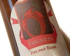 Targaryen Beer Labels, Fire and Blood,Game of Thrones, (Sheet of 9 labels),khaleesi,mother of dragons,daenerys,game of thrones gift