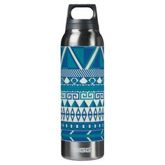 Deals Teal Turquoise Blue Zigzag Pattern 16 Oz Insulated SIGG Thermos Water Bottle today price drop and special promotion. Get The best buy