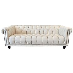 Pre Owned Creamy White Leather Chesterfield Sofa 3 295 Liked On Polyvore Featuring