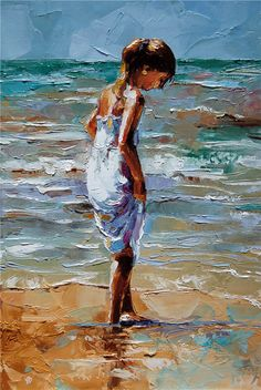 Victor Bauer, 1969 ~ Palette Knife painter. I really love the different tones in the painting. The colours of the girls dress are similar to the colours in the sea so they blend together.