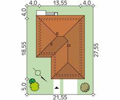 Projekt domu Kiwi 4 - usytuowanie na działce Village House Design, Village Houses, Small House Design, Roof Design, House Plans, Floor Plans, How To Plan, Architecture, Kiwi
