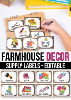 Editable Classroom Supply Labels with Pictures, Chalkboard Classroom Decor Classroom Jobs, Classroom Supplies, Classroom Decor, School Supplies, Chalkboard Classroom, Supply Labels, Bin Labels, Teacher Created Resources, Alphabet Worksheets
