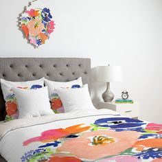 Introducing the new duvet collection. Add trending bohemian decor and vibrant color to your bedroom. In partnership with Deny Designs, we have combined my artwork with their quality home decor products, which result in amazing pieces for you to enjoy! Turn your basic, boring down comforter into the super stylish focal point of your bedroom. This Lightweight Duvet is made from an ultra soft, lightweight woven polyester printed cream top with a 100% polyester cream bottom. Includes a hidden…