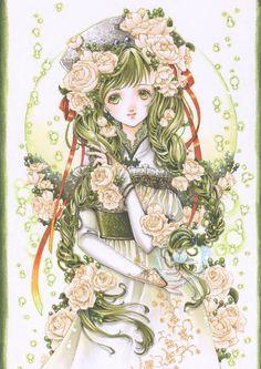 White rose princess with long green hair in braids, green eyes, ivory flowers, & red ribbons by manga artist Shiitake.